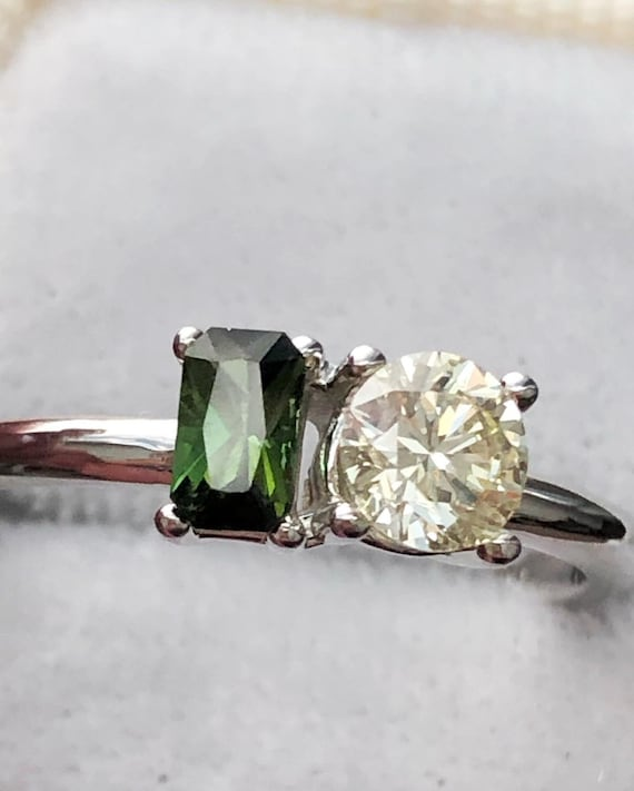 Diamond and Tourmaline Side by Side Ring