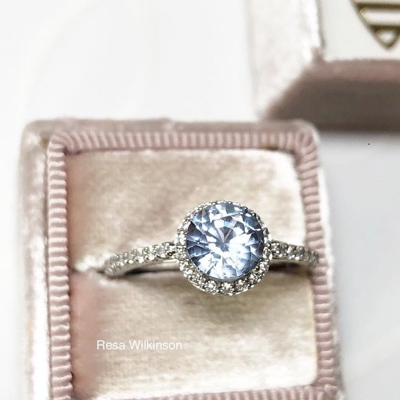 Icy Blue Natural Sapphire Diamond Halo Engagement