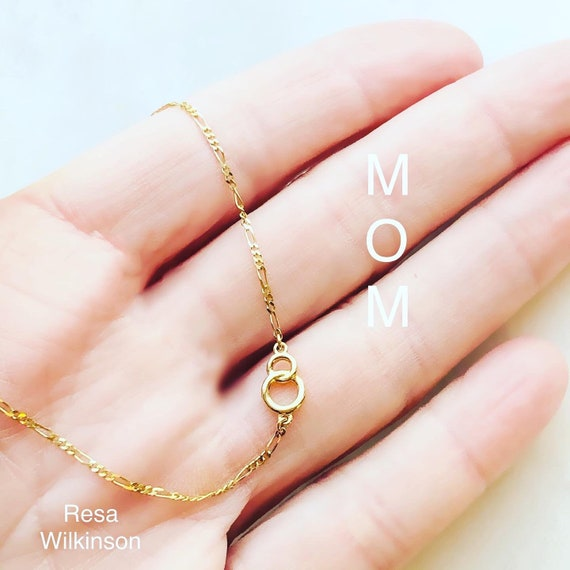 Circle Infinity Figaro Custom Bracelet 14k Gold