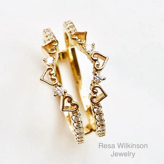 Hearts and Diamonds Ring Guard Ring Enhancer 14k Yellow