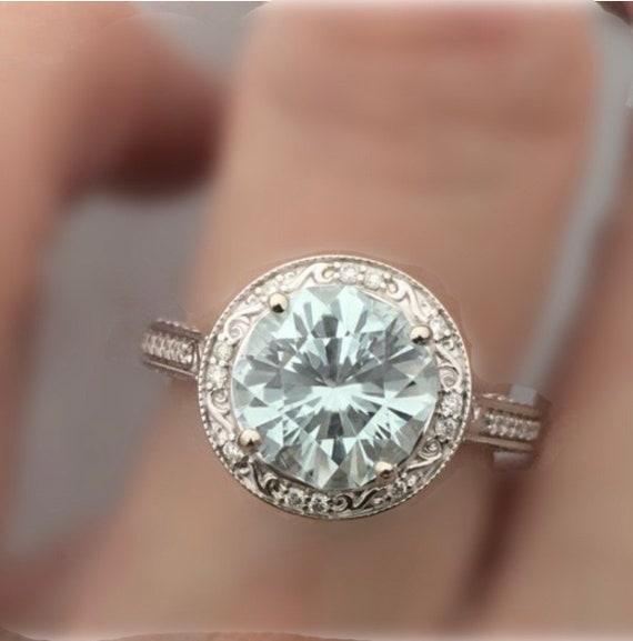 Sea Mist Tourmaline Diamond Ring 2.88 carats