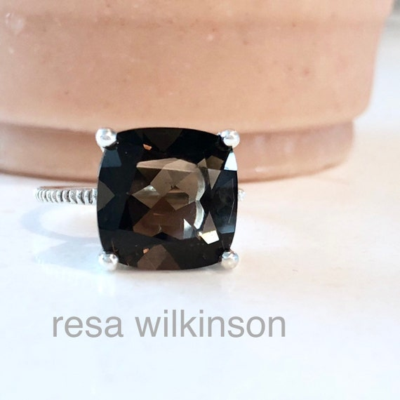 Cushion Cut Smoky Quartz Solitaire Ring Sterling Silver