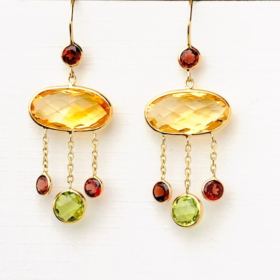 Citrine Peridot Garnet Chandelier Earrings