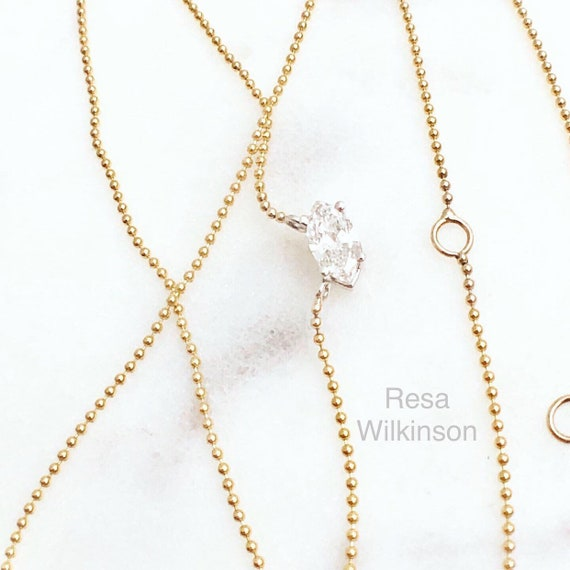 Diamond Marquise Necklace East West Set Two Tone Gold