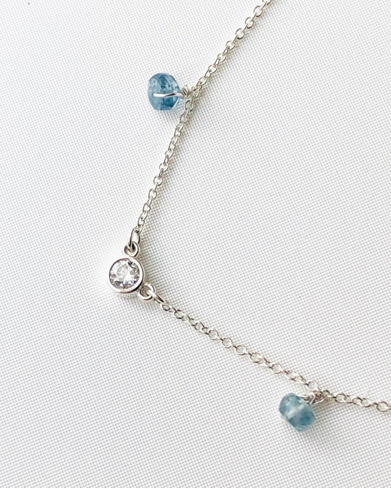 Diamond and Kyanite Necklace Sterling Silver