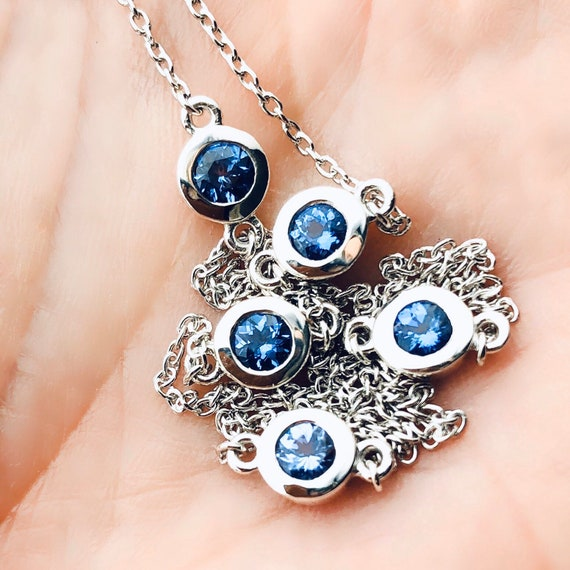Five Tanzanite Necklace Bezel Set Sterling Silver