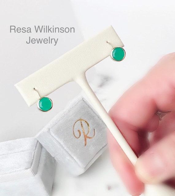 Apple Green Chrysoprase Drop Earrings Bezel Set 14k White