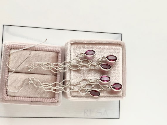 Garnet Dangle Earrings Bezel Set