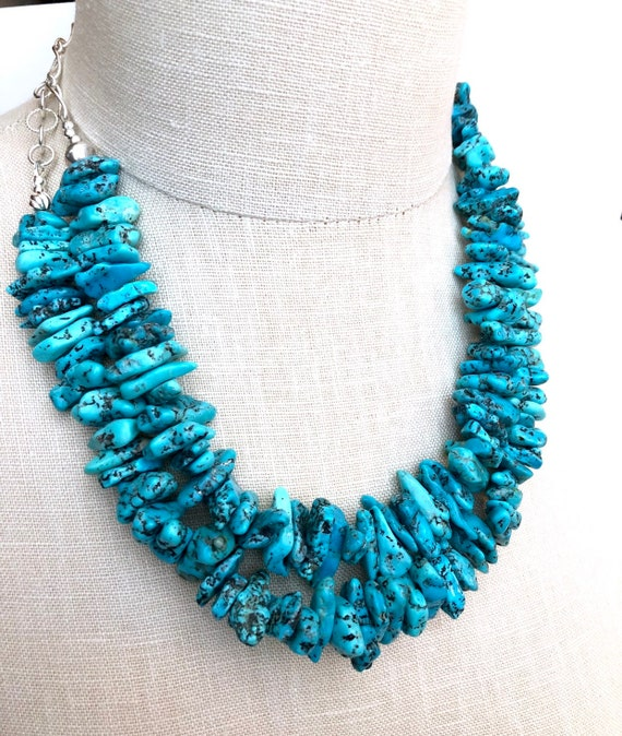 Kingman Turquoise Statement Necklace Sterling Silver