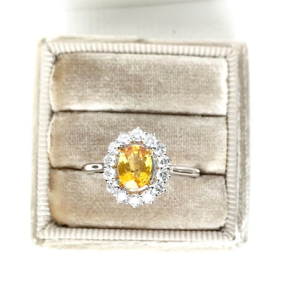 Yellow Bi Color Sapphire Diamond Halo Ring 14k