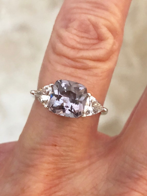 Platinum Gray Spinel White Sapphire Three Stone Ring