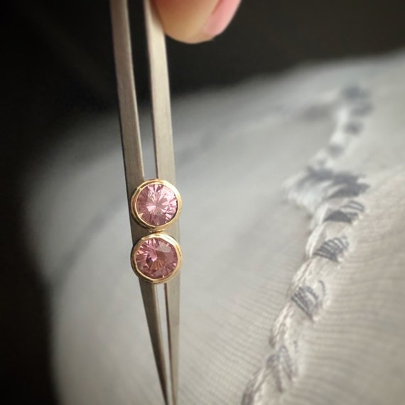 Salmon Pink Garnet Earring Studs 14k Fair Trade Gemstones