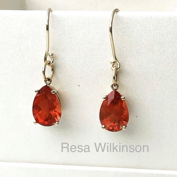 Oregon Sunstone Pear Shape Earrings 14k
