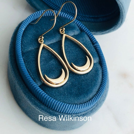 Resting Crescent Moon Teardrop Dangle Earrings 14k Yellow
