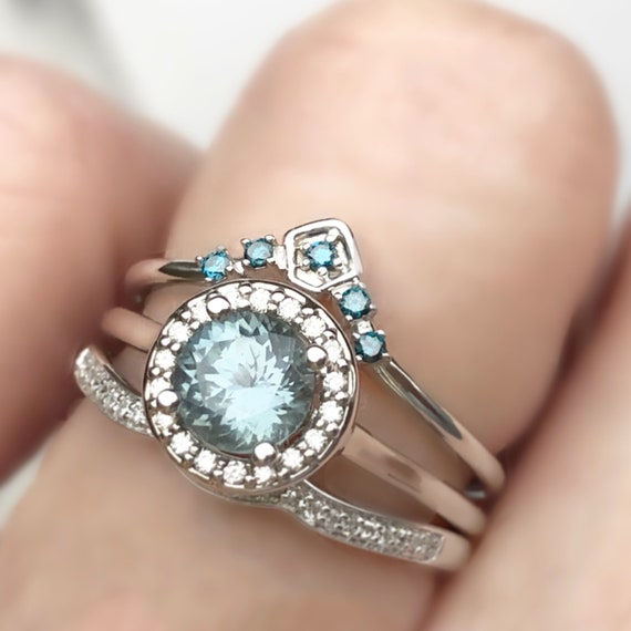Denim Blue Montana Sapphire Diamond Halo Ring Engagement