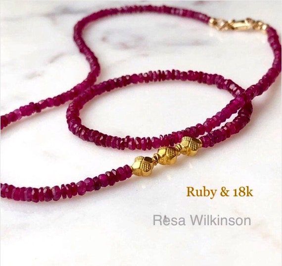 Ruby Gemstone Necklace 18k Yellow Gold Center