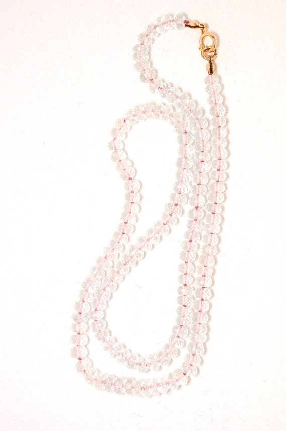 Morganite Necklace Silk Knotted Micro Faceted Gemstones