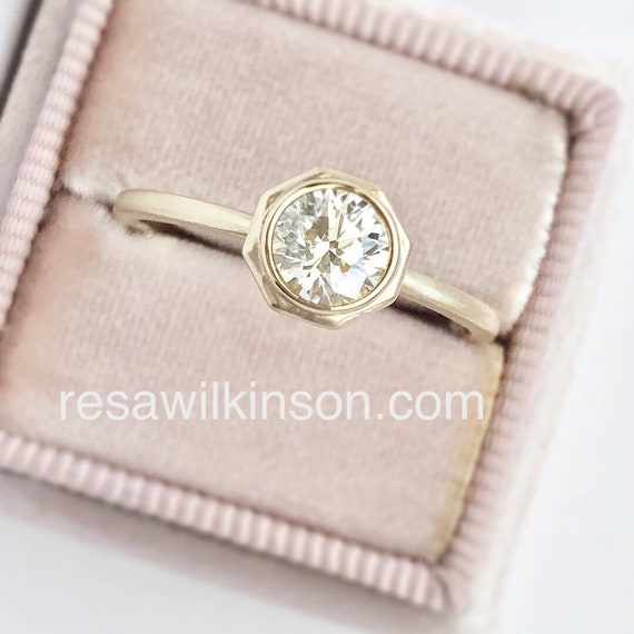 Diamond Solitaire Ring Brushed Gold