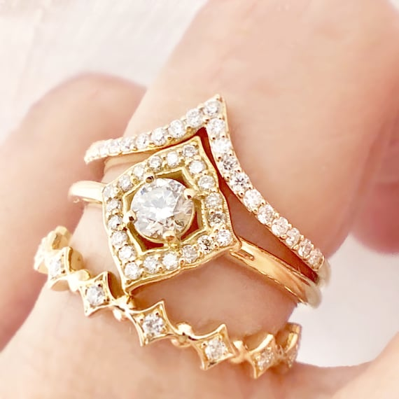 Diamond Vintage Inspired Engagement Ring 14k Yellow Gold