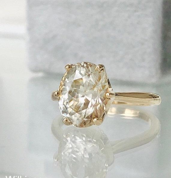 Champagne 6.82 Carat Natural Zircon Gemstone Crown Style Ring