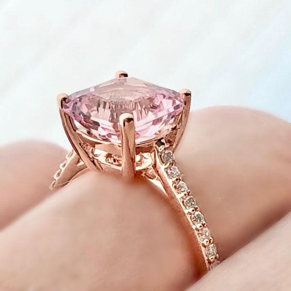 Three Carat Cushion Cut Morganite and Diamond Rose Gold Engagement Ring