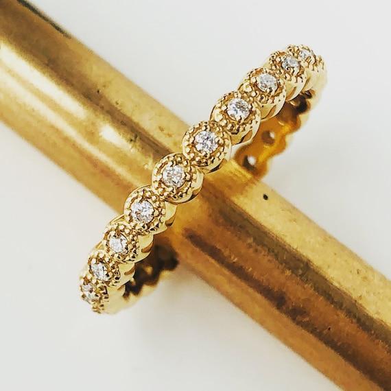 Diamond Eternity 1/4 carat with Beaded Edge 14k Yellow