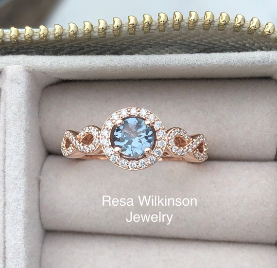 Slate Blue Spinel and Diamond Rose Gold Engagement Ring