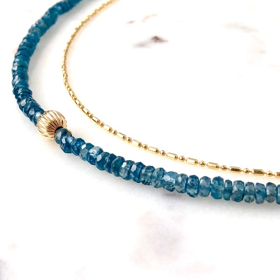 Faceted Kyanite Gemstone Necklace 14k