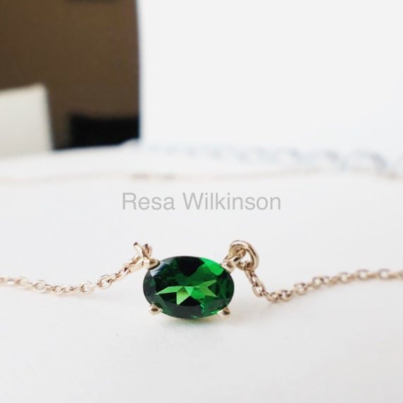 Tsavorite Garnet Fair Trade Solitaire Gold Necklace