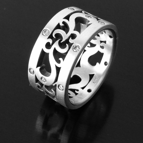 Paisley Diamond Wedding Band Brushed Sterling Silver