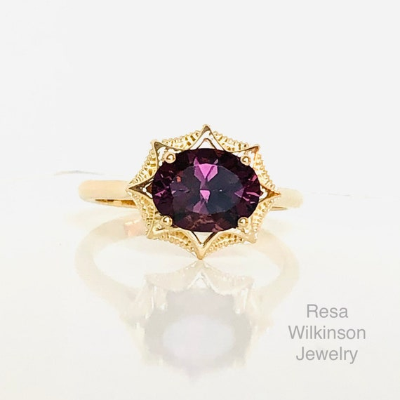 Deep Purple Spinel Compass Ring