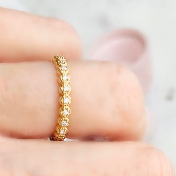 One Quarter Carat Diamond Eternity Ring Beaded Edge 14k Yellow