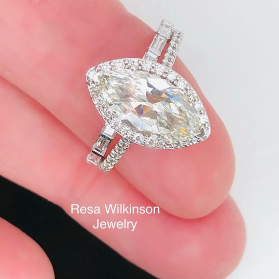 Marquise Diamond 2.54 carat Total Weight Halo Engagement Ring 18k Thin Band Ready to Ship