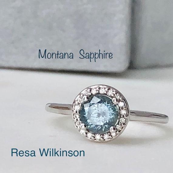 Montana Sapphire Diamond Halo Ring Engagement