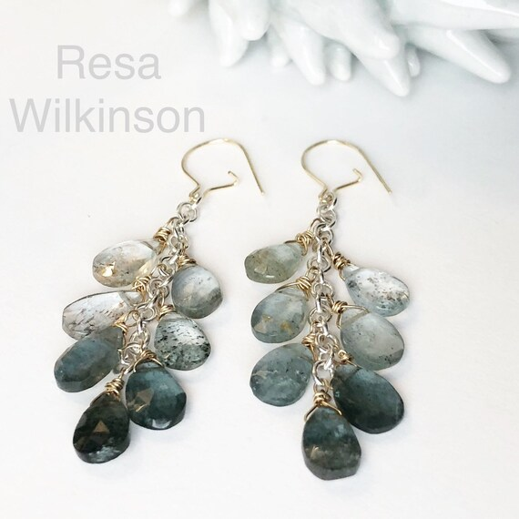 Moss Aquamarine Waterfall Earrings 14k and Sterling Silver