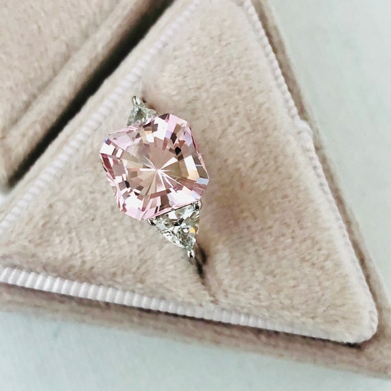 Three Carat Pink Morganite and White Sapphire Engagement Ring