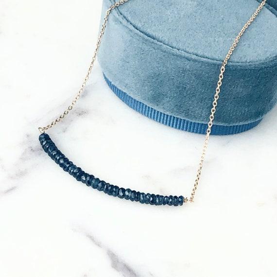 Blue Sapphire Bar Necklace 14k