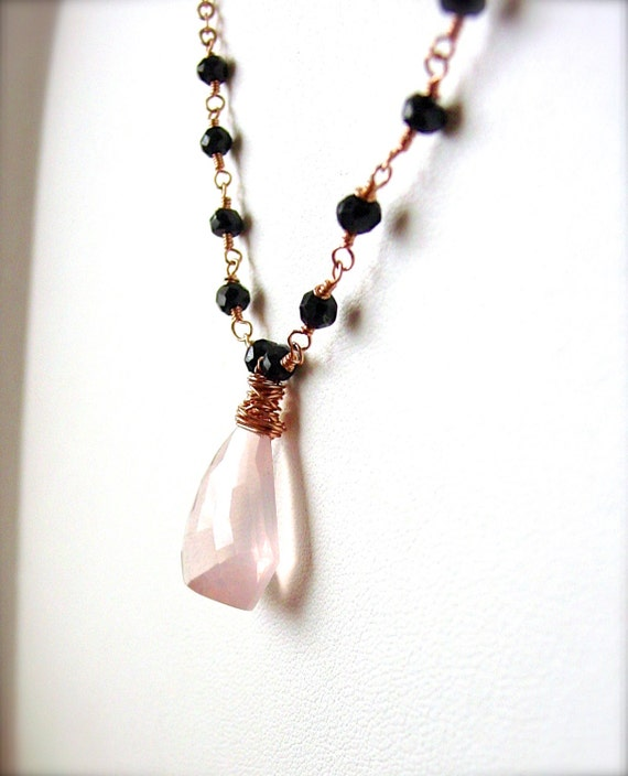 Rose Quartz Black Spinel Rosary Style Necklace Wire Wrapped