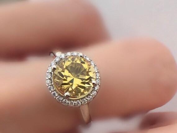 Heliodor Golden Beryl Halo Engagement Ring 14k White Unheated Natural Gemstone Ring