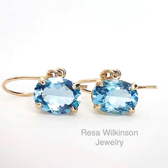 Oval Mozambique Aquamarine East West Earrings 14k Yellow 2.03 Carats Free Shipping in USA