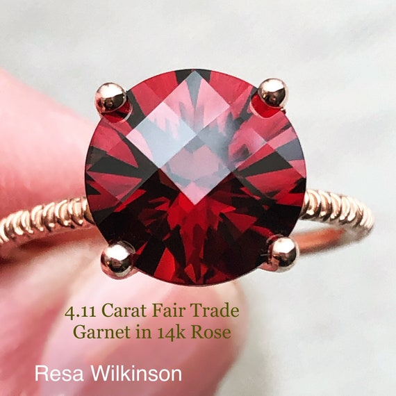 Fair Trade Garnet Rose Gold Solitaire Ring 4.11 Carats