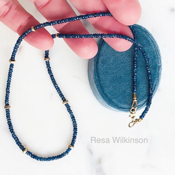 Faceted Blue Sapphire 14k gold Necklace