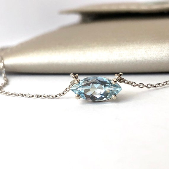 Marquise Aquamarine Necklace Minimalist Style East West 14k White