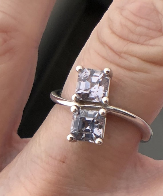 Lavender Gray Spinel Two Stone Ring Asscher Cut 14k White