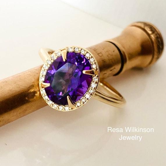 Amethyst Diamond Halo Ring Oval Engagement