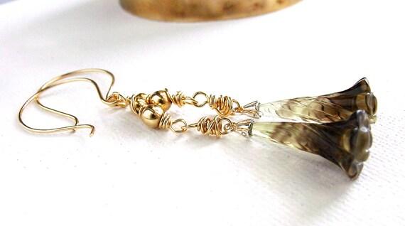 Carved Phantom Quartz Earrings Gold Dangle