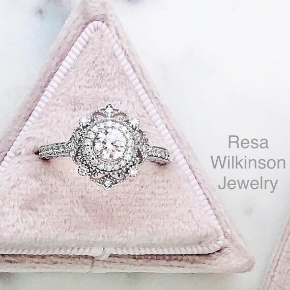 Diamond Vintage Inspired Engagement Filigree