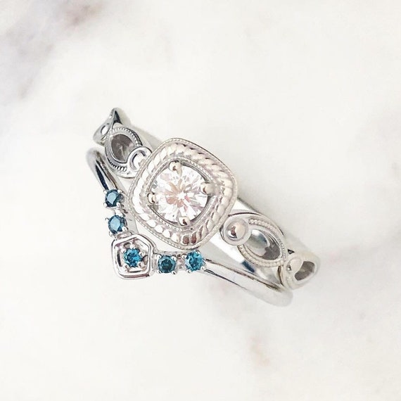 Diamond Engagement Ring Vintage Inspired AGS Certified