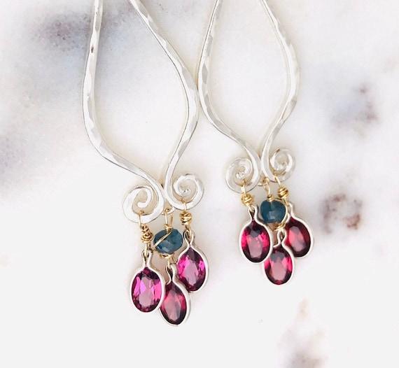 Garnet Chandelier Earrings Boho Style Gold Silver