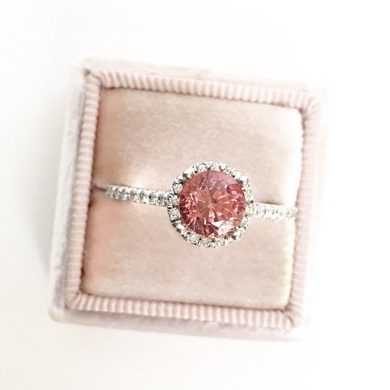 Peachy Pink Spinel Diamond Halo Ring Natural Gemstone